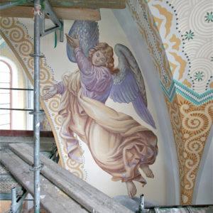 Rekonstruktion Engelmalerei, St. Pankratius Budenheim, Rekonstruktion Ornamentik Restauratorin J. Reinhardt 2010