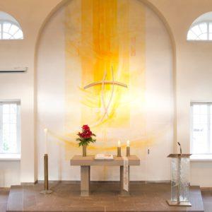 Ev. Kirche Kassel-Oberzwehren, Entwurf Prinzipalien, Ausführung Metallwerkstätte Michael Gradinger Mz, 2016