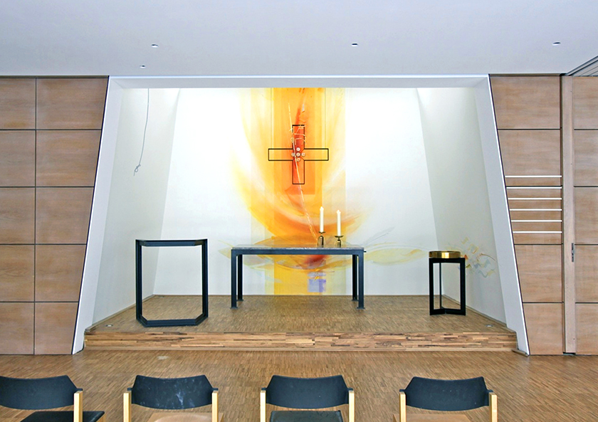 Ev. Gemeindezentrum Nackenheim, Wandmalerei: Glasgestaltung 2010