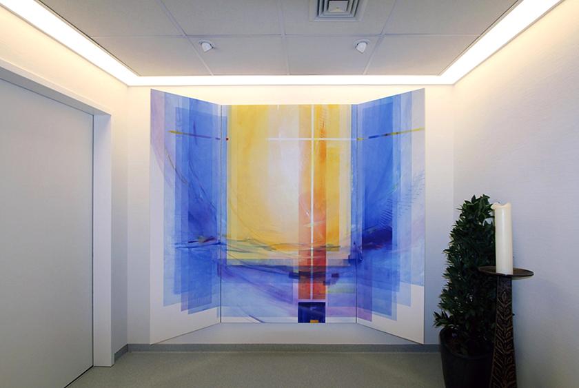 Herzklinik Bad Rothenfelde, Abschiedsraum,Triptychon Acryl auf Holz-offen