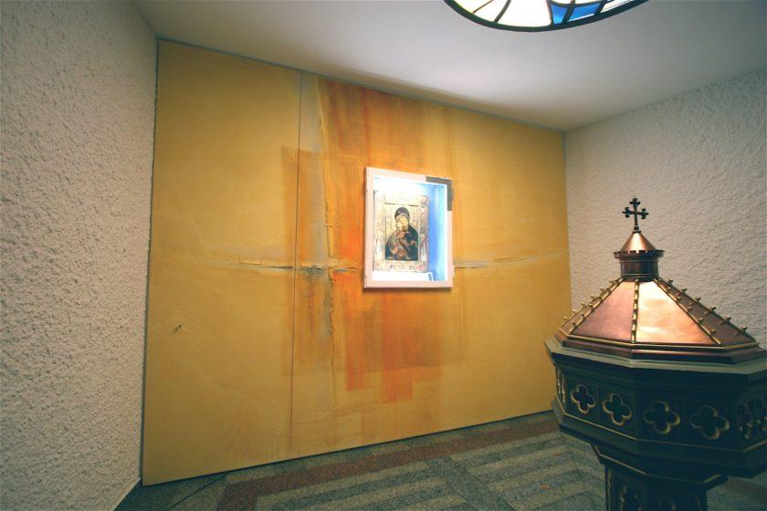 Kath. Kirche Merchweiler, Wandmalerei, Gestaltung Anbetung