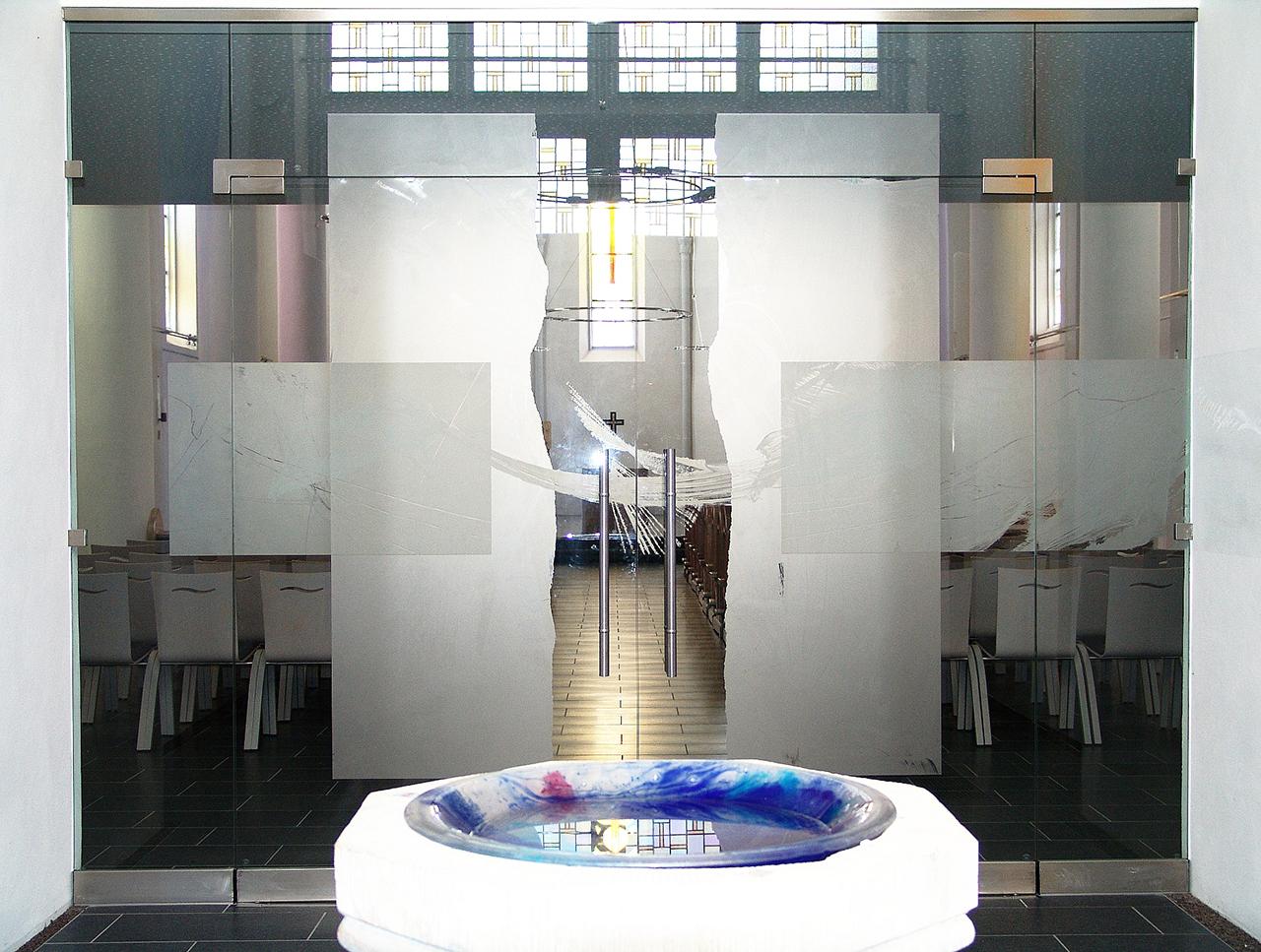 Ätzmattierung Windfang Kath. Kirche Rhaunen 2005
