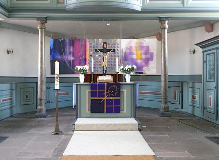 Ev. Kirche Hofheim- Wallau, Luther Triptychon, 1,20 m x 3,60 m