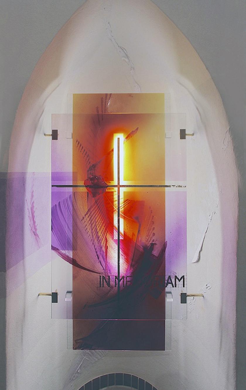 "Ev. Kirche Merzig, Glasgestaltung ""IN MEMORIAM"" 2014"