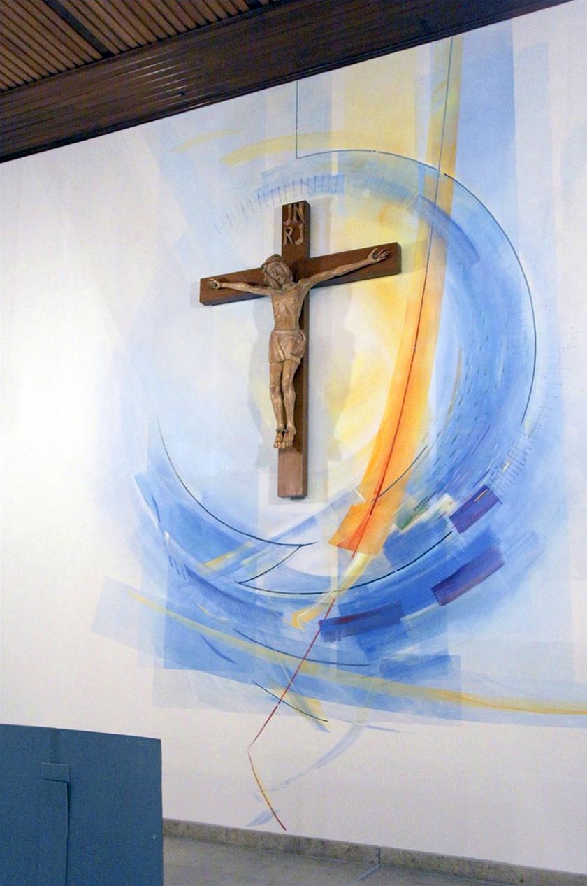 Kath. Kirche Bad Vilbel, Altarwandgestaltung: Raumfarbfassung, 2012