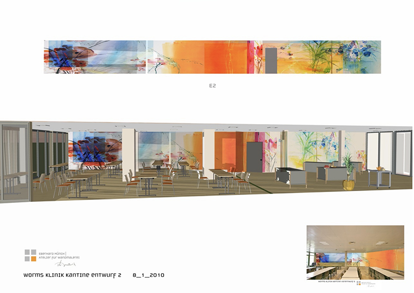 Klinik Worms, Wandmalerei, Restaurant Cafeteria, Entwurf