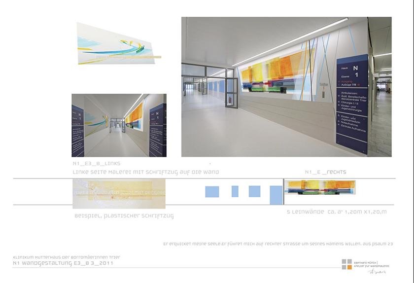 Krankenhaus Mutterhaus der Borromäerinnen Trier, Gestaltung 5 Etagen und Cafeteria, 2011