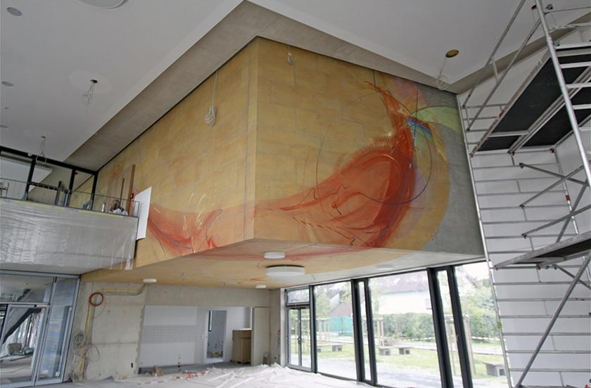 Wandgestaltung Schulzentrum St. Mathia Bitburg, Mensa in Arbeit- 2012