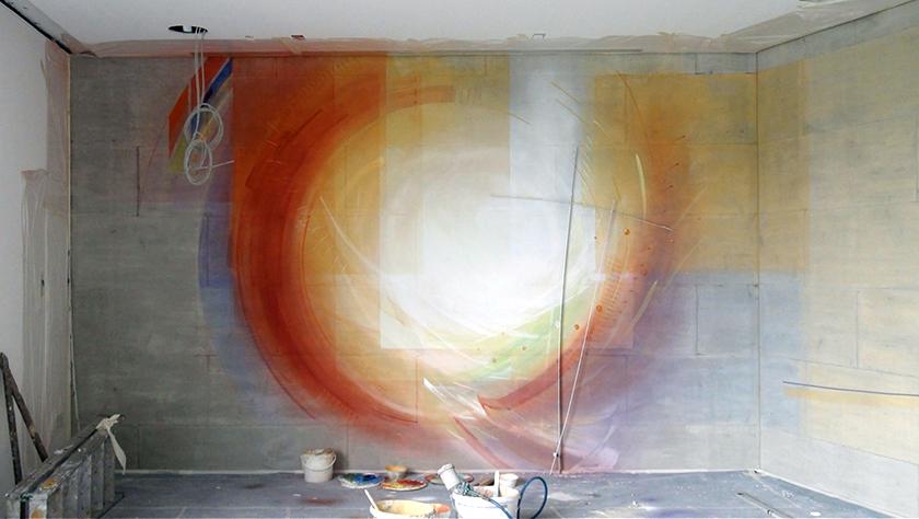 Wandgestaltung Schulzentrum St. Mathias, Bitburg Meditationsraum in Arbeit