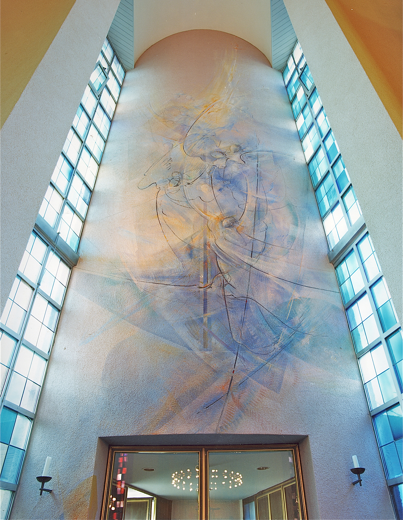 St. Peter Offenbach, Wandmalerei Engelsturz 2002