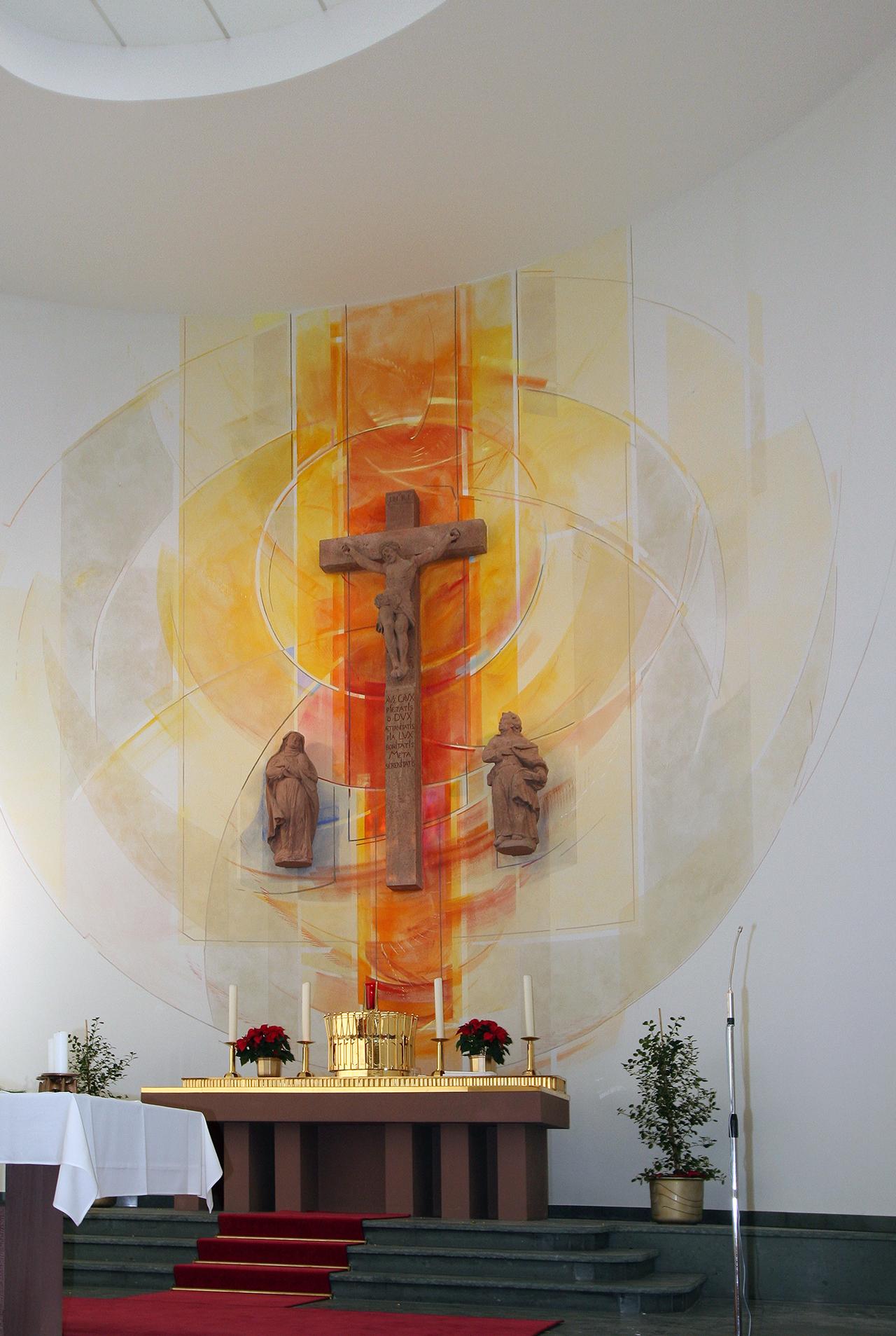 Kath.Kirche Maria Himmelfahrt Heussenstamm, Altarwandmalerei 2005